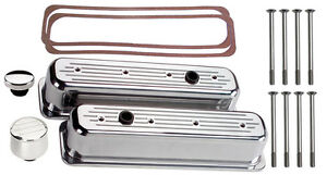 Billet Specialties Polished Tall Valve Covers sbc Center Bolt milled breather