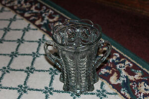 Antique Victorian Double Handle Clear Glass Vase Ribbed Body Scalloped Top Odd