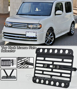 For 09 14 Nissan Cube Front Bumper Tow Hook License Plate Bracket Relocator