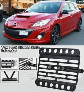 For 10 13 Mazdaspeed 3 Hatch Front Bumper Tow Hook License Plate Bracket Mount