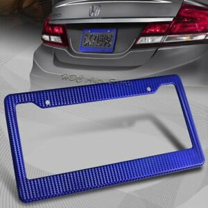 1 X Jdm Blue Carbon Look License Plate Frame Cover Front Or Rear Universal 1