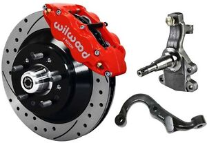 Wilwood Disc Brake Kit 2 Drop Spindles Arms Front 67 69 13 Drilled Rotor Red