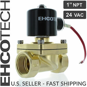 1 Npt 24vac Electric Solenoid Valve Brass Water Air Gas 24 volt Ac Nc 1 Inch