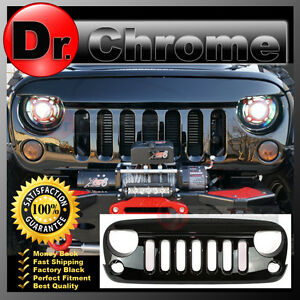 Front Hood Shiny Black Replacement Grille Shell For 07 18 Jeep Jk Wrangler