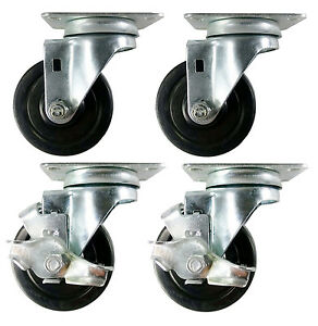3 1 2 X 1 1 4 Hard Rubber Wheel Casters a1 4 Swivels With 2 Brake