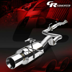 4 Rolled Muffler Tip Catback Racing Exhaust System For 96 00 Honda Civic 3 dr