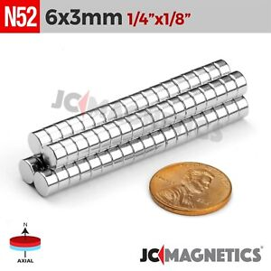 12 50 100 1000pc 6mm X 3mm 1 4 x1 8 N52 Strong Disc Rare Earth Neodymium Magnet