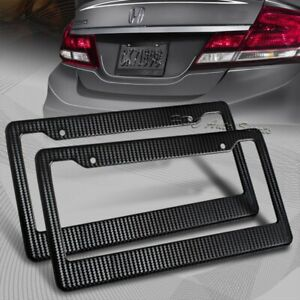 2 X Jdm Black Carbon Look License Plate Frame Cover Front Rear Universal 3