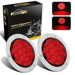 2x Red 15 Led Truck Trailer Light Stop Turn Tail 4 Round W chrome Surface Mount