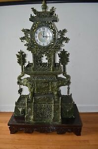 Old Chinese Greed Jade Hand Carved Clock Statue Is A Quartz Clock Working