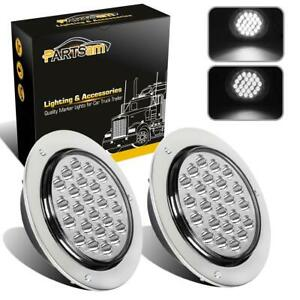 2pc 4 Round White 24 Led Truck Trailer Light Stop Turn Tail Reverse Chrome
