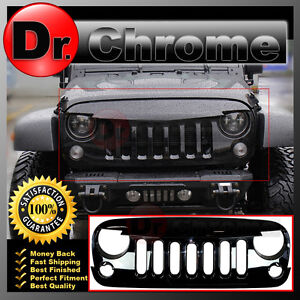 07 16 Jeep Jk Wrangler Front Hood Shiny Black Replacement Grille Shell Sahara