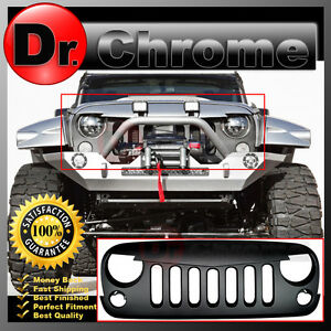 Front Hood Matte Black Replacement Grille Shell For 07 18 Jeep Jk Wrangler