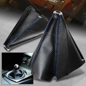 Jdm Carbon Style Blue Stitch Leather Gear Manual Shifter Shift Boot Universal