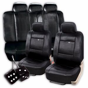 Zone Tech Universal Pu Leather Black Car Seat Cover And Hanging Fuzzy Dice Set