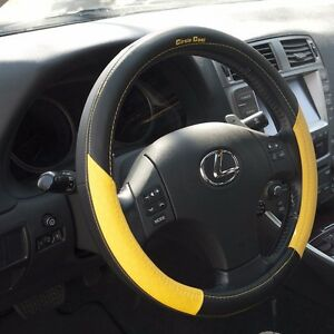 Black Yellow Pvc Leather Steering Wheel Cover Acura Audi Integra 38cm Non Slip