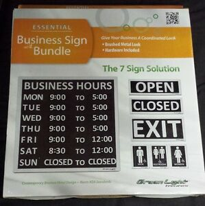 Business Sign Bundel Open closed Sign Hours Sign Restroom Sign Exit Sign 7 Signs