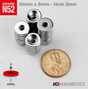 10 25 50pcs 10mm X 3mm 3 8 x1 8 Hole 3mm N52 Countersunk Ring Rare Earth Magnet