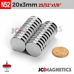 5 10 25 100pc 20mm X 3mm 13 16 x1 8 N52 Strong Disc Rare Earth Neodymium Magnet
