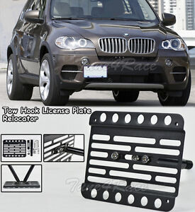 For 07 13 Bmw X5 E70 Front Tow Hook License Plate Relocator Bracket Holder Mount