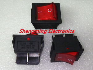 50pcs Red 6pin On off Dpdt Rocker Switch 16a 250v 20a 125v Kcd4 202