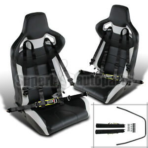 2x Black White Pvc Leather Jdm Reclinable Racing Seats Black 4 Pt Seat Belts