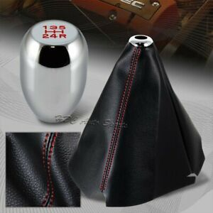 Red Stitch Leather Manual Shift Boot Chrome 5 speed Shifter Knob Universal 5