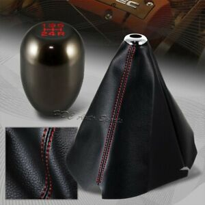 Red Stitch Leather Manual Shift Boot Gunmetal 5 Speed Shifter Knob Universal 1