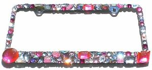 Chunky Mix Pinks With Ab And Clear Crystal Rhinestone License Plate Frame Bling