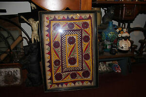 Antique Victorian Needlepoint Sampler Fabric Unusual Shapes Colors Framed 1