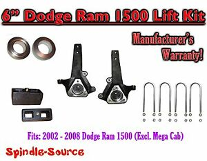 2002 2008 Dodge Ram 1500 2wd 6 Front 3 Rear Spindle Coil Block Lift Kit