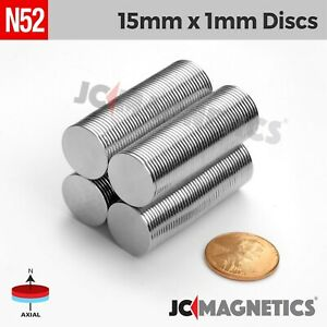 50 100pc 15mm X 1mm 5 8 x1 32 N52 Strong Disc Rare Earth Neodymium Thin Magnet