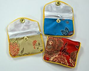 Silk Jewelry Chinese Pouch Bag Roll Assorted Ten Dozen Zipper 2 1 2 X 2