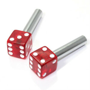 2 Clear Red Dice Interior Door Lock Knobs Pins For Car Truck Hotrod Classic