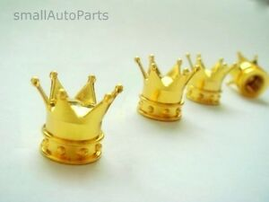 4 Yellow Gold Crown Tire Wheel Stem Air Valve Caps Set Car Truck Hot Rod Atv