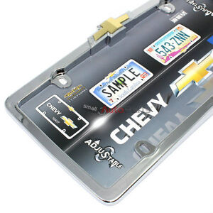 Chevrolet Bowtie Logo Chrome License Plate Tag Frame For Auto Car Truck