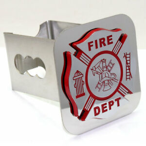 Fire Department Logo Chrome Tow 2 Receiver Hitch Cover Stainless Steel Plug