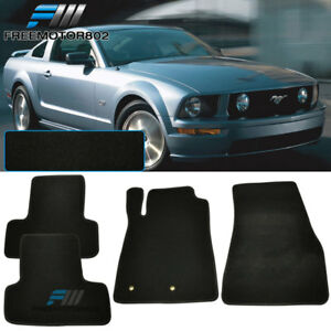 For 05 09 Ford Mustang 2dr Black Nylon Floor Mats Carpets 4pc