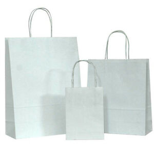 White Small Kraft Paper Bags Shopping Handle Wedding Party Gift Bag 5 25x3 75x8