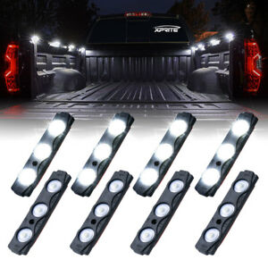 Xprite 8pcs White Led Decorative Light Pods Pickup Truck Bed Lighting Waterproof