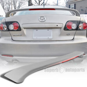 For 2003 2008 Mazda 6 4dr Abs Rear Trunk Spoiler Wing led 3rd Light Unpainted