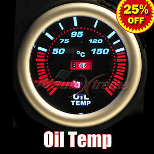 Drift Auto Gauge Meter 52mm 2 0 Smoked Lens White Lt Red Needle Oil Temperature