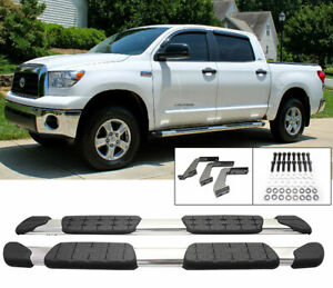 Fit 07 17 Toyota Tundra Double Cab Aluminum Side Step Bars Rail Running Board