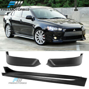 For 08 15 Mitsubishi Lancer Oe Style Front Bumper Lip Side Skirts Pp