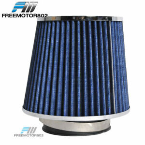 Cold Short Ram Intake High Flow Cone Blue Air Filter 3 5 Inch Car Truck Suv