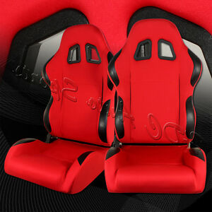 Type 4 Style Red black Full Dial Reclinable Racing Seats Sliders Universal 3