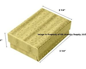 Wholesale 200 Gold Cotton Fill Jewelry Packaging Gift Boxes 3 1 4 X 2 1 4 X 1