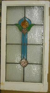 Large Old English Leaded Stained Glass Window Cute Abstract Drop 18 X 34 25
