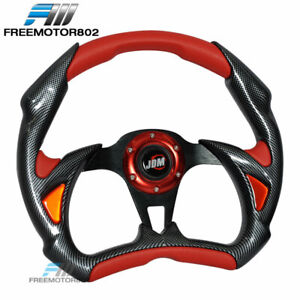 Steering Wheel Battle Type 320mm Carbon Fiber Red With Horn Jdm Logo Pvc Leather