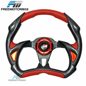 Universal 6 hole 320mm Steering Wheel Battle Type With Horn Jdm Logo Pvc Leather